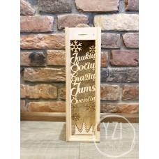 Medinė graviruota dėžė buteliui -  JAUKIŲ, SOČIŲ, GRAŽIŲ JUMS ŠVENČIŲ!