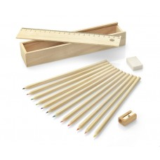 Medinė dėžutė su 12 spalvotų pieštukų KRASI
